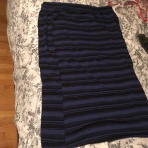 Black and blue striped maxi skirt